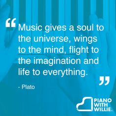 """Music gives a soul to the universe, wings to the mind, flight to the imagination and life to everything.""  ― Plato #music #quote #inspiration"