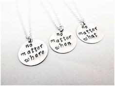 No matter where what when necklaces set, set of three necklaces, personalized jewelry, best friend gift, distance friendship gift for her by RobertaValle on Etsy gift for your bestfriend Your place to buy and sell all things handmade Bestfriend Necklaces For 2, Bff Necklaces, Best Friend Necklaces, Best Friend Jewelry, Cute Couple Necklaces, Bracelets, Bff Gifts, Best Friend Gifts, Gifts For Friends