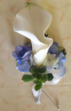 The groom's boutonniere included a single white mini calla lily, blue hydrangea and a mini succulent to match the bridal bouquet
