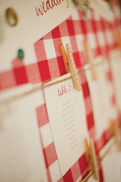 Red Gingham Wedding Seating Plan (Our invite cards on a burlap background? Wedding Reception Planning, Seating Plan Wedding, Wedding Table, Our Wedding, Gingham Wedding, A Todo Confetti, Dinner Themes, Toronto Wedding, Park Weddings