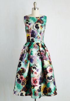 Flourish Your Desires Dress. Not only does this delightful fit and flare fulfill your stylish desires - it flaunts your dreams come true! #multi #modcloth