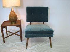 Blue velvet chair $275.00 http://www.grestuff.com/mid-century-modern-chair/