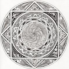 Mandala in zentangle style ~ artist Calabash Bazaar #journal #mandala #zendala #zentangle