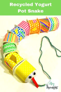 8 Kids Craft Projects From Recycled Materials – diy Thought Recycled Yogurt Pot Snake. 8 kids craft projects from recycled materials. Crafts From Recycled Materials, Recycled Crafts Kids, Craft Projects For Kids, Fun Crafts For Kids, Recycled Art, Toddler Crafts, Diy For Kids, Recycled Furniture, Handmade Furniture