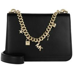 Michael Kors Shoulder Bag - Mott LG Charm Swag Shoulder Black - in... (6.930 CZK) ❤ liked on Polyvore featuring bags, handbags, shoulder bags, black, leather shoulder handbags, michael kors tote, handbags totes, leather tote bags and hand bags