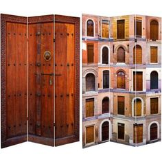 6' Tall Double Sided Doors Canvas Room Divider, Multicolor