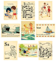 Beach Scrapbook Layouts, Diy Scrapbook, Scrapbook Supplies, Scrapbooking Layouts, Planner Stickers, Printable Stickers, Free Printables, Vintage Crafts, Vintage Paper