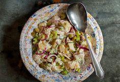Krumplisaláta kovászos uborkával Salad Dressing, Bon Appetit, Guacamole, Sprouts, Potato Salad, Cabbage, Vitamins, Cooking Recipes, Menu