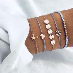 Buy 5 PCS/Set Fashion Heart Map Charm Bracelets Set For Women Boho Vintage Stone Leather Chain Bracelet Party Jewelry Wholesale Bracelet Love, Bracelet Fil, Arrow Bracelet, Tassel Bracelet, Cute Bracelets, Bracelets For Men, Handmade Bracelets, Fashion Bracelets, Fashion Jewelry