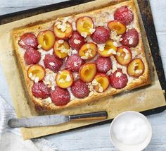 This open fruit tart looks and tastes fantastic for very little effort - frangipane flavours complement sugar plums