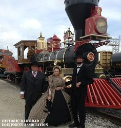 Replicating history -- Dave Kloke, who built this train, and President Lincoln and the First Lady re-enactors at Galesburg, Illinois, Railroad Days. © Historic Railroad Equipment Association