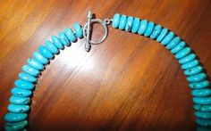 Large Polished Turquoise Graduated Rondelle Bead by skystones