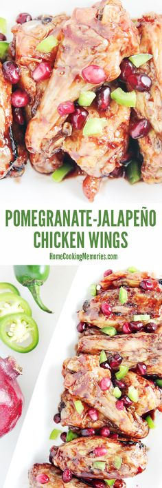 This Pomegranate Jalapeno Chicken Wings recipe is easy to make & only 5 ingredients. Made with pomegranate juice, fresh jalapenos, and sweet honey!