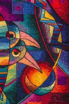 "Handwoven Peruvian Tapestry by Maximo Laura ""Rest in the Home"". 31 x 47 inches x 120 cm) Weaving Art, Tapestry Weaving, Hand Weaving, Art Journal Techniques, Aboriginal Art, Textile Artists, Fabric Art, Fiber Art, Modern Art"