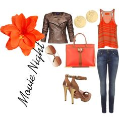 Movie Night, created by atenealove on Polyvore *I really love this orangy color!