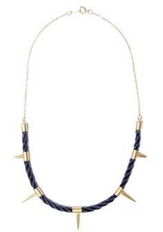 Black Unicorn woven horsehair Spike Necklace 22ct gold plating.   #jewellery #jewelery #spikes #studs #gold #fashion #design #woven #horsehair #craft