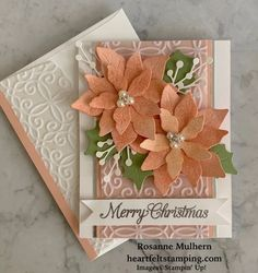 Poinsettia Cards, Christmas Poinsettia, Stampin Up Christmas, Christmas Cards To Make, Xmas Cards, Handmade Christmas, Holiday Cards, Christmas Tag, Stampinup Christmas Cards