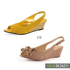 Sometimes you just want to keep it simple with a pair of peep toe wedges.   For those laid-back days which of these would you wear?  Beige or yellow?