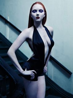 Vampira, mistress of the snark ... Lily Cole by Mario Sorrenti via Heather Thomson  Last look for Holly? Wet hair, no brows.