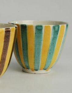 1950s Swiss Studio Pottery Bistro Coffee / Tea Cups :: Quintessentia