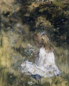 Een meisje met bloemen in het gras, Jacob Maris, 1878 - SUR L'HERBE *;*-Verzameld werk van Claudette Delphis - Alle Rijksstudio's - Rijksstudio - Rijksmuseum