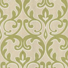 Green Modern Damask Wallpaper :: paint bedroom  matching green & put wallpaper in bathroom en suite (preferably would like to find in a softer cool color damask)