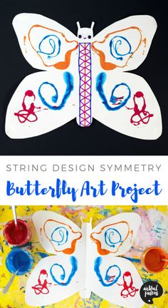 Children's art / butterfly printing / kids craft   This butterfly art project for kids involves printing with paint-covered string. This results in pretty, symmetrical string art designs on the wings! #kidscraft #kidsart #butterfly #printmaking #artsandcrafts #kidsactivities