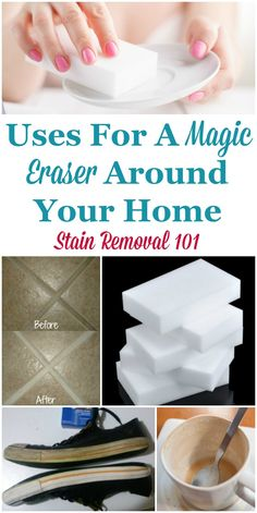 Lots of Magic Eraser uses around your home, for cleaning, removing marks and tough to remove stains from a wide variety of hard surfaces on Stain Removal 101 Deep Cleaning Tips, House Cleaning Tips, Cleaning Solutions, Spring Cleaning, Cleaning Hacks, Cleaning Schedules, Cleaning Recipes, Cleaning Products, Magic Eraser Uses