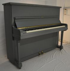 Dale Forty upright pianos. Overstrung iron frame piano painted in Farrow&Ball Moles Breath.  t The Painted Piano Company, we want to make the