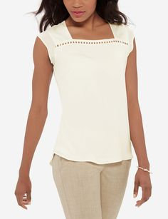 Simple trimming brings out the charm in this simple woven front top. Classic Style, My Style, Stylish Outfits, Clean Slate, Pretty, Summer 2016, Clothes, Shopping, Kleding