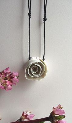MADE TO ORDER White Porcelain Rose   - Necklace. €18.00, via Etsy.