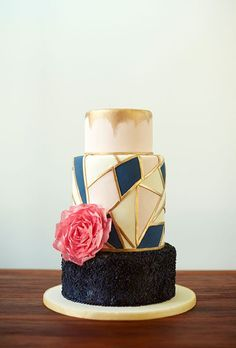 Blush, Gold, and Black Modern Geometric Wedding Cake   Brides.com