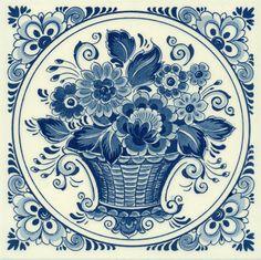 Flower Basket, Dutch Delft Tile 6