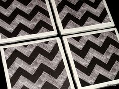 Black and Grey Chevron Coaster Tile Coasters Coaster by KimLKrafts