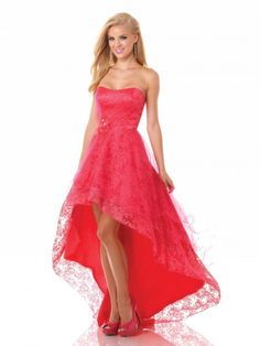 Wishesbridal High Low Lace Red Party Dress