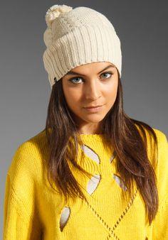 Plush Cable Knit Pom Pom Hat w/ Fleece Lining in Oatmeal