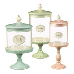 """•Blue jar 9-1/2 by 4-1/2 by 3-3/4-Inch - """"Candy', pink jar 14 by 5 by 5-1/2-Inch - """"Goodies"""" green jar 12-1/2 by 5 /12 by 6-Inch- """"Sweets""""  Grasslands Road Just Desserts"""