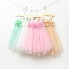 NEW Girls Tulle Tutu Party dress flower Girl Dress Beige White Size 0,1,2,3,4,5