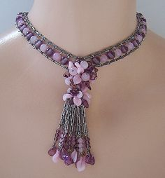 Rousselet French Pink & Amethyst Colored Glass Beaded Sautoir Necklace ~ Jazzle Dazzle