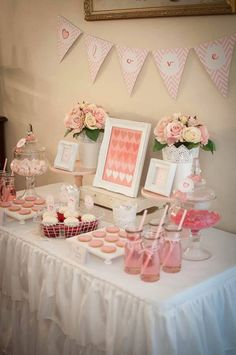 "Say ""I love you "" with a special dessert buffet for Valentines Day, Mother's Day ,birthday,weddings,baby showers...pink cake stands,white wooden stands, lace vases and lolly jars filled with pink candy ..all available for hire from mysweeteventhire .melbourne"