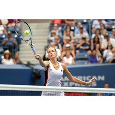 Pliskova reaches for a high volley in the battle for the Women's Final.