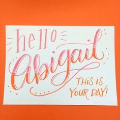 Personalized Name Art Card Ombré hand by BrightWinterStudio