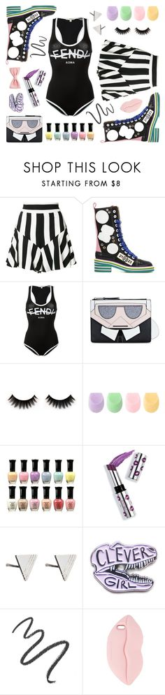 """""""the motion"""" by ell-richards ❤ liked on Polyvore featuring Milly, Maison Margiela, Fendi, Karl Lagerfeld, Forever 21, Ciaté, Rachel Jackson, Maybelline and STELLA McCARTNEY"""