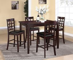 Poka 5PC Espresso Finish Rectangle Wood Counter Height Dining Set Roundhill Furniture http://www.amazon.com/dp/B00G7U15FQ/ref=cm_sw_r_pi_dp_yxcXub14RSP5X