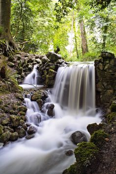 A waterfall inside Birr Castle, County Offaly, Ireland, located right in the center of the  place with vast beautiful woodland scenery.