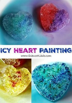 Use salt and liquid watercolors to create gorgeous Valentines science art. Learn hands on science while creating bright and colorful ice hearts.