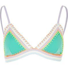 ffe4fe965e River Island Aqua green saddle stitch bikini top ( 44) ❤ liked on Polyvore  featuring