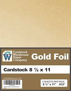Mirror Gold Cardstock 8 1/2 x 11 - 5 Pack from Cardstock…
