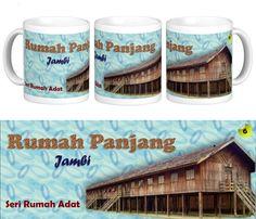 """Mug Keramik tema seni budaya Indonesia, edisi khusus rumah adat """"Rumah Panjang"""" Jambi.    Cocok buat hadiah / souvenir etnik nusantara."""