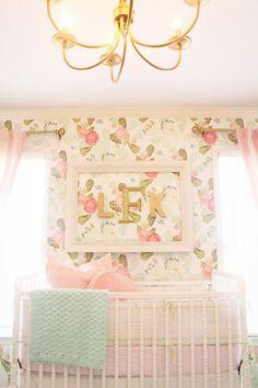 Vintage floral wallpaper for baby girl's nursery.